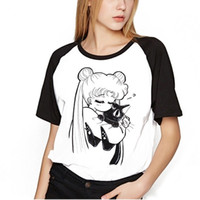 vêtements sailor moon achat en gros de-Sailor Moon Shirt Vêtements Hauts Femmes Kawaii T-shirts Harajuku Sailor Moon Chat Tshirt À Manches Courtes Plus La Taille T-shirt Femme