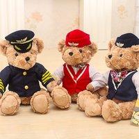 sevimli bebek teddies toptan satış-Çocuklar için 1 adet 25cm Sevimli Pilot Oyuncak Ayı Peluş Oyuncak Kaptan Ayı Bebek Doğum Hediye Çocuklar Oyuncak Baby Doll Doldurulmuş Hayvan Oyuncaklar
