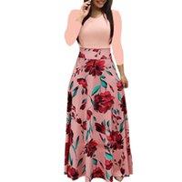 bobo de impresión al por mayor-Vestido de verano Bobo moda mujer manga larga estampado floral vestido de fiesta Sexy Ladies robe femme Casual Maxi Vestidos largos