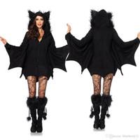 ingrosso costume del diavolo per le donne halloween-Moda Devil Halloween Outfit Costumi Cosplay Vestito da pipistrelli vestiti spaventoso Black Fanny Dress Up Costume Party per le donne