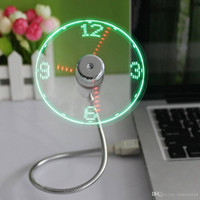 fanáticos de la computadora usb al por mayor-LED Reloj Fan Mini USB alimentado con pantalla flexible en tiempo real parpadeante en tiempo real para PC Ordenador portátil Tablet