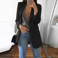 ternos de senhora venda por atacado-Blazers Do Vintage Das Mulheres de Manga Longa Slim Fit Terno Ocasional Blazer Terno Feminino Trabalho de Escritório Senhora Notched Coat Mulheres Outwear Negócios