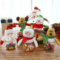 şeker kavanozu dekorasyonu toptan satış-Plastik Şeker Kavanoz Noel Tema Küçük Hediye Çanta Noel Şeker Kutusu El Sanatları Ev Partisi Süslemeleri
