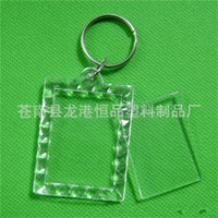 Wholesale square acrylic keychains resale online - Diy Photo Frame Keys Ring Square Key Buckle Acrylic Portable Transparent Keychains Reusable With Different Pattern hp J1