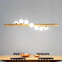ingrosso led luci del negozio di legno-Nordic Style Pendent Lamp Legno Vetro Sala da pranzo semplice ristoranti Shop pendent Luci Creative Glass G9 LED A sospensione