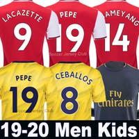 erkekler için gri gömlekler toptan satış-AUBAMEYANG Arsenal futbol forması 2019 2020 LACAZETTE PEPE OZIL CEBALLOS HENRY PÉPÉ soccer jersey 19 20 TORREIRA MKHITARYAN XHAKA GUENDOUZI Tayland kırmızı mavi siyah gömlekleri