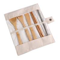 cuchara tenedor de madera al por mayor-7 unids / set Juego de Cubiertos Portátil Juego de Cubiertos de Bambú de Viaje Al Aire Libre Palillos Cuchara Tenedor Bebé Alimentación Vajilla CCA11849 120set