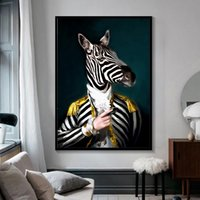 Wholesale black white horse paintings for sale - Group buy Black and White Classy Lion Tiger Elephant Giraffe Wolf Horse Wall Art Paintings Animal Wearing a Hat Canvas Painting Multi Sizes A