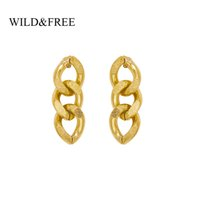 Wholesale stud chain link earrings for sale - Group buy Wild Free Gold Tiny Twisted Link Chain Stud Earrings For Women Minimalist Tassel Earrings Stainless Steel Jewelry Gifts