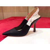 zapatos de vestir estrechos de las señoras al por mayor-2019 nuevas mujeres de la llegada talones de la moda zapatos de vestir niñas calidad casual diseño sexy neta del talón delgado sandalia punta estrecha negro tamaño 35-41 # D11