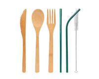 ingrosso set di cibi eco friendly-Set di posate di bambù 5pcs / set cucchiaio forchetta coltello pennello di paglia posate da tavola set casa da pranzo cucina bar strumento di cottura SN3186