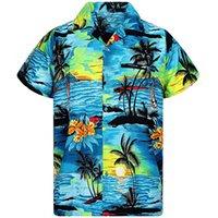 blusa dianteira curta venda por atacado-Homem Verão Homens Camisa Havaiana Manga Curta Front-Bolso Praia Floral Impresso Blusa Top Tee 2019 Novas Camisas Impressas de Alta Qualidade