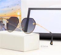 standart çerçeveler toptan satış-Marka yeni marka güneş gözlüğü moda erkekler ve kadınlar arı standart güneş gözlüğü metal çerçeve bora hd lens marka kutusu ambalaj