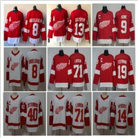 hokey forması pavel toptan satış-Detroit Red Wings Buz Hokeyi 9 Gordie Howe 71 Larkin 13 Pavel Datsyuk 40 Zetterberg 19 Steve Yzerman 14 Gustav Nyquist Dikişli Jersey S-3XL