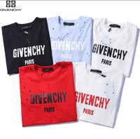 rua da mulher do tshirt da forma venda por atacado-18SS GIV Summer Street desgaste Europa Paris Fan Made Fashion dado Homens de Alta Qualidade Quebrado Buraco Algodão Camiseta Casual Mulheres Tee T-shirt