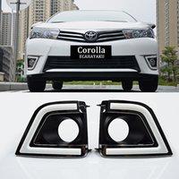ingrosso ha condotto l'auto dimmer-ECAHAYAKU Indicatori di direzione e dimmer stile Relay auto LED DRL Luci diurne con foro fendinebbia per Toyota corolla 2014-2016