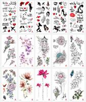 pegatinas de tatuajes para la mano al por mayor-Impermeable tatuajes temporales pegatinas tótem tatuaje de la flor de la falsificación flash del tatuaje del arte de cuerpo de pies y manos para la muchacha de las mujeres de los hombres RRA1453
