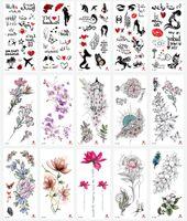 frauen blühen flash tattoo großhandel-Wasserdicht Temporäre Tätowierung Aufkleber Totem Blume Fake Tattoo Flash Tattoo Body Art Hand Fuß für Mädchen Frauen Männer RRA1453