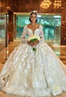 ingrosso vestito dalla corea che spedice liberamente-Lussuoso Sexy 2019 Arabo Plus Size Abiti da sposa Backless maniche lunghe cristalli Abiti da sposa Stunning abiti da sposa