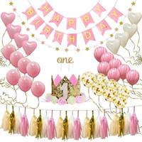 fuentes de la fiesta de cumpleaños rosa al por mayor-38 unids / set un año de edad bebé fiesta de cumpleaños globo conjunto rosa de aluminio látex fiesta de cumpleaños decoraciones niños bebé ducha suministros