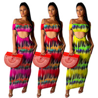 Wholesale dresses for sale - Group buy Women Clothes maxi dresses set off shoulder Strapless tops tie dyed sexy chest wrapped suspender beach long dresses piece outfits LJJA2718