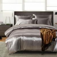 reina sábanas ajustables al por mayor-(3 unids / 4 unids) / set Juego de sábanas de cama de seda de satén suave de lujo Conjunto de calidad de hotel de color sólido Juego de cama de cama sedosa Hoja plana Sábana ajustable Funda de almohada