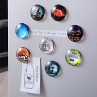 Wholesale glass refrigerator magnets resale online - 5PCS Round Refrigerator Magnets Stickers English Letter Glass Fridge Magnets Whiteboard For Halloween Wall Decoration