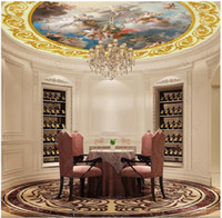 Wholesale pool wall lamp resale online - Custom D photo silk mural wallpaper European zenith dome palace ceiling zenith round lamp pool mural background wall stickers