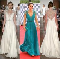 vestidos de celebridades kate venda por atacado-Nova Kate Middleton em Jenny Packham Sheer com boné de mangas vestidos de noite Formal celebridade Red Carpet vestidos Lace Chiffon vestidos de noite