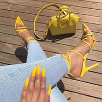 bandaj sandaletler toptan satış-Kadın Topuklu Sandalet Bandaj Ayak Bileği Kayışı Pompaları Süper Yüksek Topuklu 11.5 Cm Ince Topuklu Bayan Ayakkabı Parti Sandalet