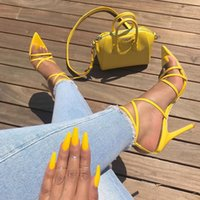 ingrosso tacco sandali bendaggio-Sandali con tacco donna Sandali con cinturino alla caviglia e cinturino alla caviglia Tacchi alti 11.5 Cm Scarpe con tacchi sottili e sandali da donna