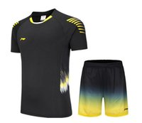 Wholesale black jersey yellow stripes resale online - New Li Ning men Woman Badminton T Shirts shorts Quick Dry Fitness Sportswear stripe Sport table tennis Shirt Jersey tennis t shirts