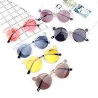 resinas de ratinho venda por atacado-Mouse bonito Orelha Óculos De Sol Crianças Menino Menina Clara Lente De Resina Óculos de Sol Crianças Moda Metal Meninas Do Bebê Óculos de Proteção UV400