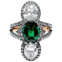ingrosso anelli di diamanti dell'oro di rosa dell'annata-Vintage Womenswear naturale verde smeraldo e diamanti Anello di lusso 18k Rose Gold Anello di fidanzamento Dimensione 5 -12