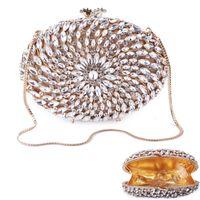 золотые клатчы оптовых-White Rhinestone Party Clutch Evening Bags High-End Gold Metal Women Party Clutch Lady Clutches Handbag  Chain Purses