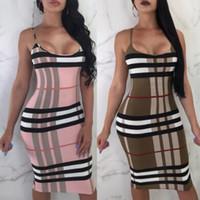 sıkı diz elbiseleri toptan satış-Yaz Bayan Elbise Avrupa ve Amerikan Tarzı Seksi Sıkı Elbise Bandaj Seksi Diz Boyu Kadın Bodycon Giyim