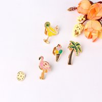 Wholesale flamingo brooch for sale - Group buy Personality Special Brooch Sunglasses Cup of coffee Flamingo Coconut tree Stick ice cream Cocktail Lapel Gift for children Girl
