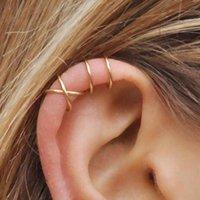ingrosso gli orecchini del polsino dell'involucro dell'orecchio-Orecchini a clip con perni a forma di croce Orecchini a clip con orecchini a forma di C per donna Orecchini a fascia in argento sterling 925