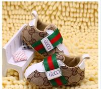 ingrosso primi scarpe infantili-Primavera e autunno Baby Shoes Canvas PU Plaid in pelle Neonati Ragazzi Canvas First Walker Shoes Infant Prewalker Sneakers Scarpe
