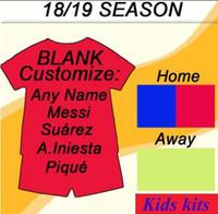 shorts de futebol juvenil venda por atacado-Maillot de Pé enfants crianças barcelOna Camisas de futbol Suarez juventude 2018 2019 camisa de futebol Messi RAKITIC camisa De Futebol shorts kit