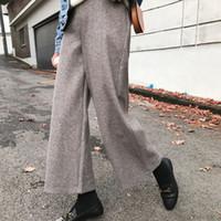 calça de perna larga coreana venda por atacado-2019 Nova Primavera Coreano Moda Calças Femininas De Tricô De Cintura Alta Pernas Largas Calças de Alta Qualidade Inferior