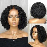 ünlü dantel ön peruk toptan satış-Ünlü saç modeli küçük sapıkça kıvırcık dantel kapatma Hint remy% 130 yoğunluk zenci dantel ön peruk peruk