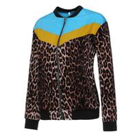 abrigo de manga larga de leopardo al por mayor-SAGACE Plus Size Jacket Women Casual Leopard Patchwork Zipper Chaqueta de manga larga Coat Pullover Coat Chamarras Mujer G3