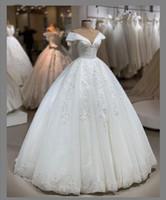 ingrosso semplici abiti da sposa colorati-Bellissimi abiti da sposa di stampa posteriore lace-up di stampa del V collo di sfera del manicotto lungo abito senza maniche vesti di allestimento de bal vesti de bal