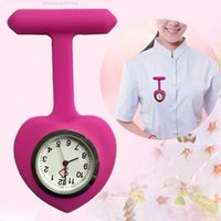 quarz herz taschenuhr großhandel-Silikon-Krankenschwester-Liebes-Herz-Form-Uhr-Taschen-Brosche-Klipp-Krankenschwester-Taschen-Doktor Nursing Watch