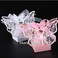 kelebek kutuları iyilikleri toptan satış-50 Adet / takım ücretsiz kargo Lazer Kesim Düğün Şeker kutuları Güzel Kelebek tasarım Kağıt Tutucu Hediye Kutuları Ev Partisi Dekorasyon Şekeri