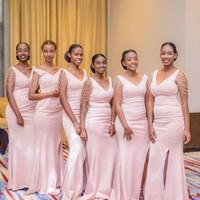 brautjungfern kleider perle rosa groihandel-Günstige Perlen Meerjungfrau rosa Brautjungfer Kleid lange 2020 V-Ausschnitt Hochzeitsgast Kleid schwarz Mädchen Prom Abend Party Kleid BM0926