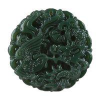 dragão phoenix presentes venda por atacado-Natural Green Jade Mão Esculpida Dragon Phoenix Pingente Colar Camisola Cadeia Presente Atacado