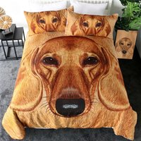 conjuntos de cama vivos venda por atacado-3D Dachshund cama Set Brown Dog edredon cobrir Set Vivid Pet Imprimir Home Textiles pele animal 3pcs Lençois Rei
