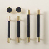 Wholesale drawer knobs resale online - Leather Brass Natural Handles Drawer Cabinet Knobs Kitchen Door Handle Cupboard Wardrobe Pull Handles Furniture Hardware Price